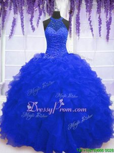 Customized Royal Blue Organza Lace Up High-neck Sleeveless Floor Length Sweet 16 Quinceanera Dress Beading and Ruffles and Sequins