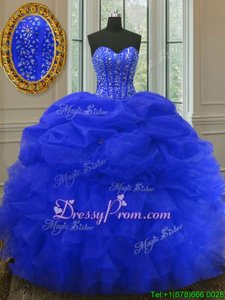 Cute Floor Length Royal Blue 15 Quinceanera Dress Sweetheart Sleeveless Lace Up