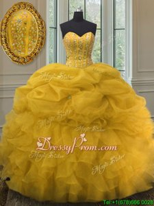 Affordable Floor Length Gold Sweet 16 Dresses Sweetheart Sleeveless Lace Up