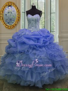 Traditional Ball Gowns Quinceanera Gowns Blue Sweetheart Organza Sleeveless Floor Length Lace Up