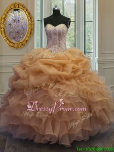 Noble Ball Gowns Quinceanera Dresses Gold Sweetheart Organza Sleeveless Floor Length Lace Up