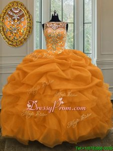 High Quality Floor Length Gold Sweet 16 Dress Organza Sleeveless Spring and Summer and Fall and Winter Beading and Pick Ups