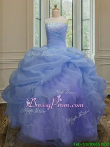 Custom Made Sleeveless Organza Floor Length Lace Up Quinceanera Dress inBlue forSpring and Summer and Fall and Winter withEmbroidery and Pick Ups