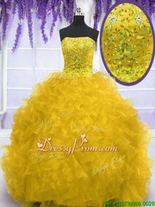Dramatic Strapless Sleeveless Organza Quinceanera Gowns Beading and Ruffles Brush Train Lace Up