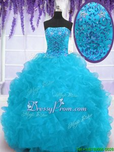 Smart Strapless Sleeveless 15th Birthday Dress With Brush Train Beading and Ruffles Aqua Blue Organza