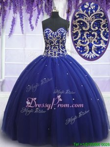 Sumptuous Royal Blue Ball Gowns Tulle Sweetheart Sleeveless Beading Floor Length Lace Up Quinceanera Dress