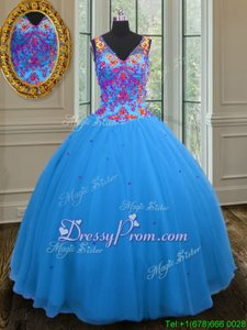 Deluxe Blue Sleeveless Beading and Sequins Floor Length Quinceanera Gown