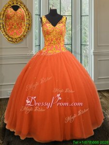 Best Selling V-neck Sleeveless Zipper Quinceanera Gowns Orange Tulle