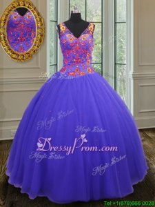 Purple 15 Quinceanera Dress Military Ball and Sweet 16 and Quinceanera and For withBeading V-neck Sleeveless Zipper