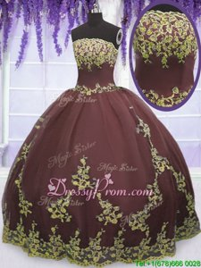 Nice Chocolate Zipper Sweet 16 Dress Lace and Appliques Sleeveless Floor Length