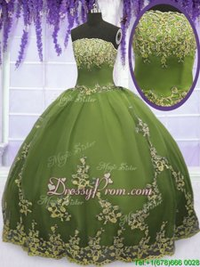 Romantic Olive Green Sleeveless Floor Length Appliques Zipper Sweet 16 Quinceanera Dress