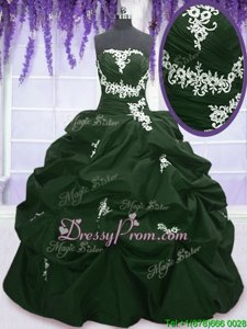 New Arrival Dark Green and Peacock Green Sleeveless Taffeta Lace Up Quinceanera Dresses forMilitary Ball and Sweet 16 and Quinceanera