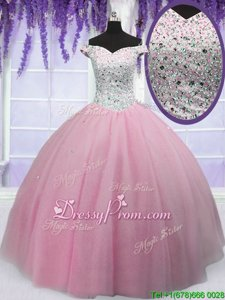 Latest Baby Pink Lace Up Quinceanera Dresses Beading Short Sleeves Floor Length