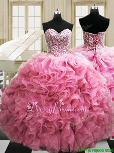 Charming Sleeveless Floor Length Beading and Ruffles Lace Up Ball Gown Prom Dress with Rose Pink