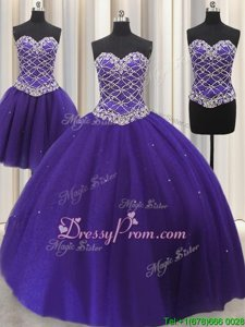 Customized Purple Sleeveless Floor Length Beading and Sequins Lace Up Sweet 16 Dress
