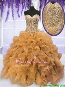 Fabulous Gold Organza Lace Up Sweet 16 Quinceanera Dress Sleeveless Floor Length Beading and Ruffles