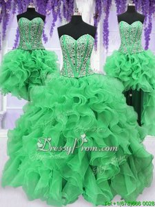 Fine Green Sleeveless Beading and Ruffles Floor Length Quinceanera Dresses