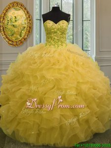 Low Price Gold Ball Gowns Organza Sweetheart Sleeveless Beading and Ruffles Floor Length Lace Up 15th Birthday Dress