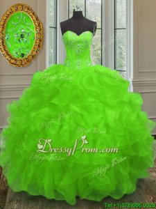 Fantastic Spring Green Sleeveless Beading and Embroidery and Ruffles Floor Length Quinceanera Gowns