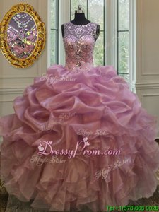 Delicate Floor Length Lilac Quinceanera Gown Organza Sleeveless Spring and Summer and Fall and Winter Beading and Ruffles and Pick Ups