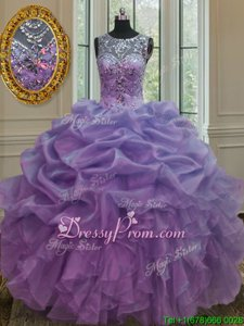 Fantastic Spring and Summer and Fall and Winter Organza Sleeveless Floor Length 15 Quinceanera Dress andBeading and Ruffles and Pick Ups