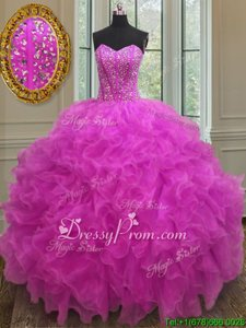 Elegant Fuchsia Ball Gowns Organza Sweetheart Sleeveless Beading and Ruffles Floor Length Lace Up Quinceanera Dress