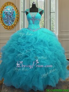 Gorgeous Floor Length Aqua Blue 15 Quinceanera Dress Organza Cap Sleeves Spring and Summer and Fall and Winter Beading and Ruffles and Sequins