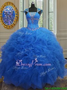 Charming Cap Sleeves Floor Length Beading and Ruffles and Sequins Lace Up Quinceanera Gown with Royal Blue