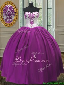 Fashion Purple Ball Gowns Beading Sweet 16 Quinceanera Dress Lace Up Taffeta Sleeveless Floor Length