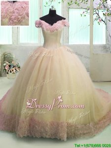Graceful Light Yellow Organza Lace Up Vestidos de Quinceanera Short Sleeves With Train Court Train Hand Made Flower