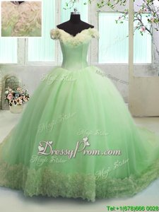 Excellent Yellow Green Lace Up Off The Shoulder Hand Made Flower 15th Birthday Dress Organza Short Sleeves Court Train
