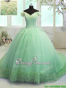 Discount Off The Shoulder Short Sleeves Organza Sweet 16 Quinceanera Dress Hand Made Flower Court Train Lace Up