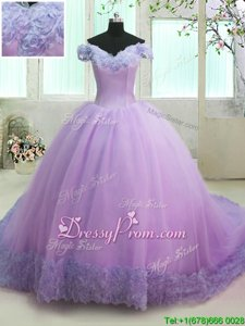 Delicate With Train Ball Gowns Short Sleeves Lilac Sweet 16 Dresses Court Train Lace Up