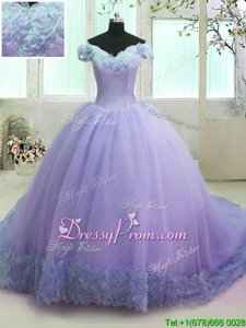 Affordable Short Sleeves Court Train Lace Up With Train Hand Made Flower 15th Birthday Dress