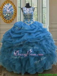 Flirting Sleeveless Beading and Ruffles and Pick Ups Lace Up Sweet 16 Quinceanera Dress