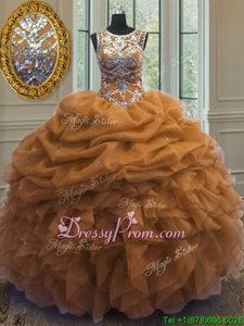 Delicate Gold Lace Up Quinceanera Dresses Beading and Ruffles and Pick Ups Sleeveless Floor Length