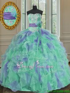Sophisticated Multi-color Ball Gowns Organza Sleeveless Beading and Appliques and Ruffles and Sashes|ribbons and Hand Made Flower Floor Length Lace Up Sweet 16 Dress