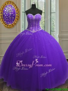 High Class Purple Sleeveless Beading and Sequins Floor Length Quinceanera Gowns