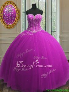 Most Popular Purple Sweetheart Neckline Beading and Sequins Quince Ball Gowns Sleeveless Lace Up
