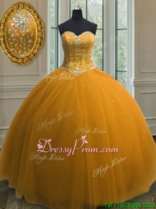 High End Gold Tulle Lace Up Sweetheart Sleeveless Floor Length Vestidos de Quinceanera Beading and Sequins