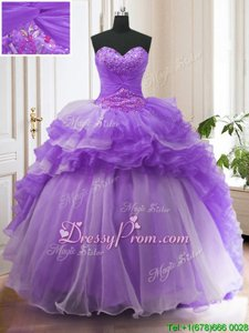 New Style Sweetheart Sleeveless Quinceanera Gowns With Train Sweep Train Beading and Ruffled Layers Lavender Organza