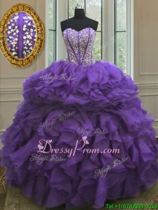 Luxurious Beading and Ruffles Quinceanera Dress Eggplant Purple Lace Up Sleeveless Floor Length