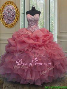 Luxury Sleeveless Beading and Ruffles and Pick Ups Lace Up Vestidos de Quinceanera