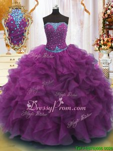 Elegant Organza Strapless Sleeveless Lace Up Beading and Ruffles Ball Gown Prom Dress inPurple