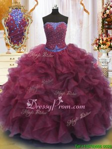 Hot Sale Floor Length Ball Gowns Sleeveless Burgundy 15 Quinceanera Dress Lace Up