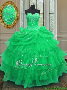 Top Selling Green Ball Gowns Halter Top Sleeveless Organza Floor Length Lace Up Beading and Ruffled Layers and Pick Ups Ball Gown Prom Dress