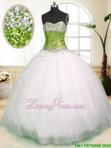 Dazzling Spring and Summer and Fall and Winter Tulle Sleeveless Floor Length Quinceanera Dress andBeading