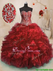 Excellent Sweetheart Sleeveless Quinceanera Dresses With Train Sweep Train Beading and Ruffles Wine Red Organza