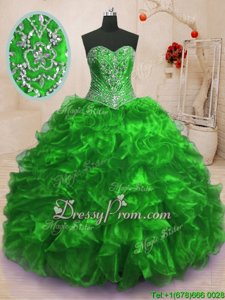 Custom Made Spring Green Sleeveless Sweep Train Beading and Ruffles With Train Quinceanera Dress