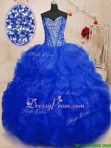 Pretty Sleeveless Beading and Ruffles Lace Up Quinceanera Gowns